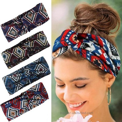 Relbcy Boho Cross Headbands Red Running Hair Bands Elastic Sweat Head Wraps Fashion Head Scarfs for Women and Girls Type A