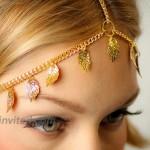 Shegirl Women Headband Gold Leaf Head Chain Boho Grecian Chain Headpiece Festive Jewelry for Women and Girls