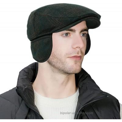 Comhats Winter Earflap Trapper Newsboy Hat for Men Ivy Gatsby Flat Cabbie Driving Duckbill Cap Green Medium at  Women's Clothing store