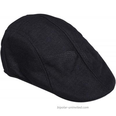 Sepia Mens Womens Linen Plain Flat Newsboy Hat Cap Black at  Men's Clothing store