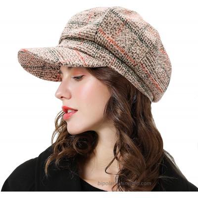 Womens Newsboy Cap Wool Visor Cabbie Fiddler Winter Spring Octagonal Paperboy Hat Girls Gift Beige at  Women's Clothing store