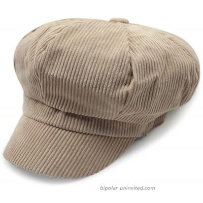 ZLSLZ Womens Retro Corduroy Striped Ivy Newsboy Paperboy Cabbie Gatsby Painter Hats Caps D Beige at  Women's Clothing store