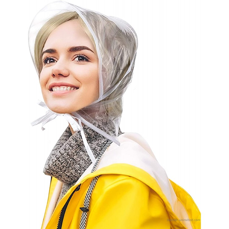 BioSwiss Set of 2 Pocket Rain Hats Waterproof Clear Bonnet Head Scarf for Men & Women  Protect Blow Dried Hair During Rain  at Women's Clothing store
