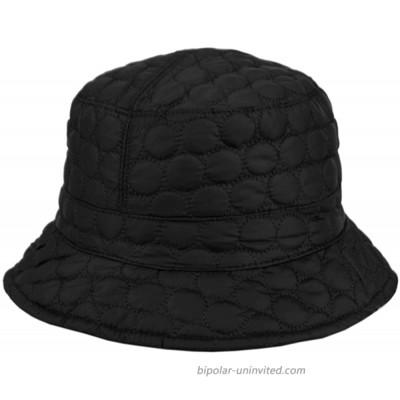 Foldable Water Repellent Quilted Rain Hat w Adjustable Drawstring Bucket Cap - Jet Black