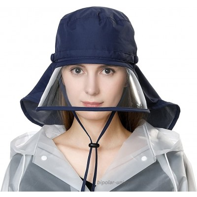 Waterproof Protection Rain Hats for Women Wide Brim Fishing Bicycle Foldable Ladies Bucket Safari Crushable Navy Blue at  Women's Clothing store
