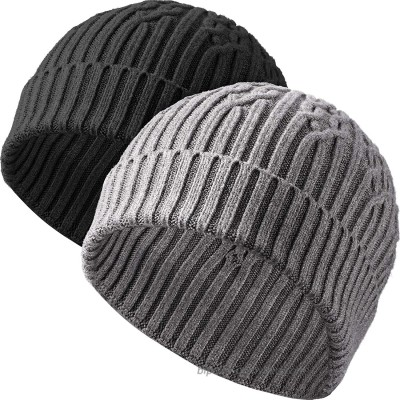 2 Pieces Men's Marled Beanie Winter Beanies Cap Cuffed Knit Beanie Hats Black and Dark Grey at  Men's Clothing store