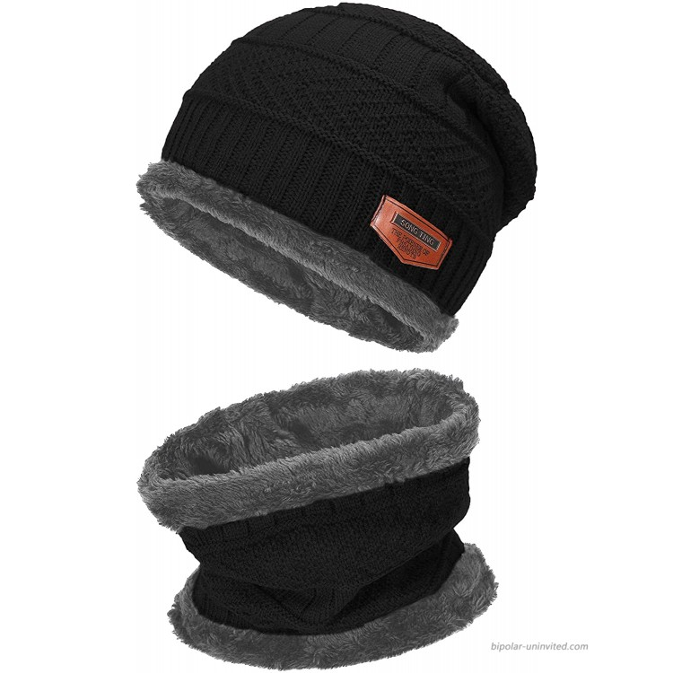 2-Pieces Winter Beanie Hat Scarf Set Warm Knit Hat Thick Fleece Lined Winter Cap Scarves for Men Women Black at Women's Clothing store