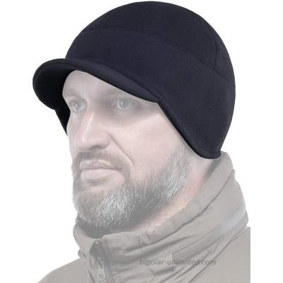 2SBR 2SABERS Fleece Winter Beanie with Visor - Men Women - Earflap Brim Skull Watch Cap Hat