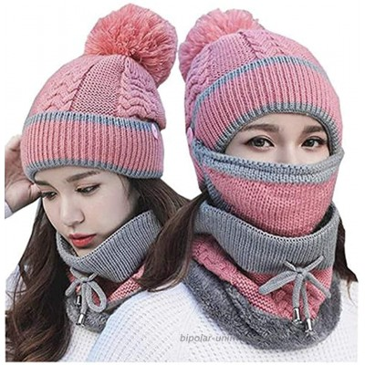 3 in 1 Winter Knitted Beanie Hat Scarf Mouth Mask Set for Women Girls Warm Fleece Lined Ski Cap with Pompom Neck Warmer Pink at  Women's Clothing store