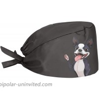 Aoopistc Boston Terrier Dog Black Working Hat with Sweatband Adjustable Tie Durable Soft Non Slip Cap Hair Covering for Painting Cleaning