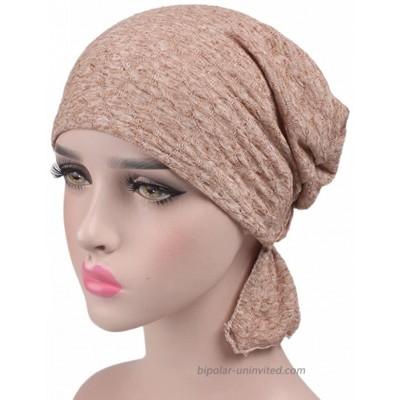 beauty YFJH Print Cotton Chemo Head Scarf Turban Hat Sleep Cap Headwear Ethnic Wrap Ruffle Beanie for Women's Khaki at  Women's Clothing store
