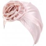 CCCHO Women's Satin Flower Elastic Turban Beanie Head Wrap Chemo Cap Hair Loss Hat Pink at Women's Clothing store