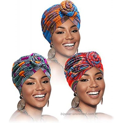 Gortin African Turban Pre-Tied Head Wraps India Hat Hairwrap Elastic Flower Knot Beanie Bonnet Cap Headbands Scarf for Women and Girls Pack of 3 at  Women's Clothing store