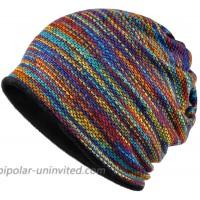 KUYOU Women's Multifunction Plus Cashmere Hat Skull Cap Scarf Rainbow at  Women's Clothing store