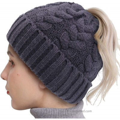 LAVYBABY Ponytail Beanies for Women Winter High Messy Bun Beanie Hat with Ponytail Hole Warm Trendy Knit Ski Skull Cap at  Women's Clothing store
