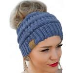 Messy Bun Hat Beanie CC Quality Knit Dark Denim at Women's Clothing store