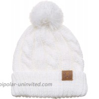 MIRMARU Winter Oversized Solid Color Cable Knitted Pom Pom Beanie Hat with Fleece Lining.White at  Women's Clothing store
