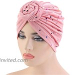 Qianmome Sequined African Turban Flower Knot Pre-Tied Bonnet Beanie Cap Headwrap Headband at Women's Clothing store