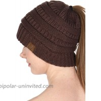 SERENITA Beanie Hat Ponytail Knit Messy Bun Women Cap - Winter Soft Cable Stretch Slouchy Hats Solid Brown at  Women's Clothing store