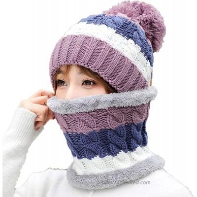 SKYEE Women Pom Beanie Hat Scarf Set Girls Winter Knit Hat with Double Layer Fleece Lined Warm Design Slouchy Ski Skull Cap Purple at  Women's Clothing store