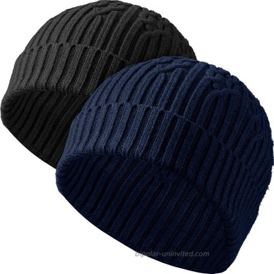 Syhood 2 Pieces Men's Marled Beanie Winter Beanies Cap Cuffed Knit Beanie Hats Black Navy Blue at  Men's Clothing store