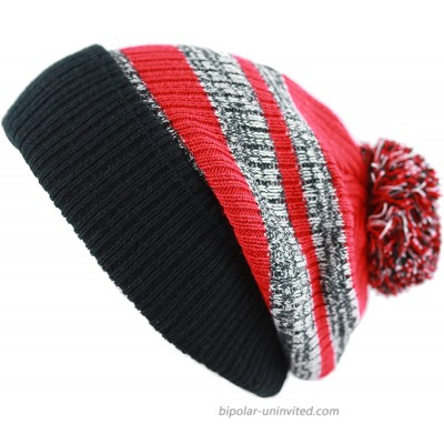 The Hat Depot Striped Cuffed Knit Beanie Winter Hat with Pom Black-Red at  Women's Clothing store