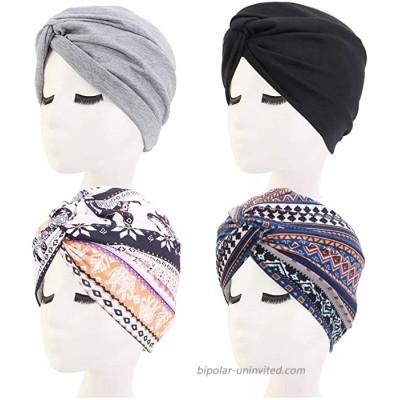 UOWAN 4 PCS Women Turban Cap Soft Womens Fashion Hair Turban Caps Headwrap African Pattern Headwrap Sleep Beanie Cap Turban Chemo Cap Pleated Pre-Tied Bonnet Turban Knot Beanie Cap Headwrap Hat