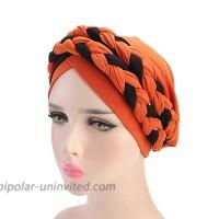 Women India Hat Muslim Ruffle Cancer Chemo Beanie Sleep Cap Turban Wrap Cap One Size Orange Black