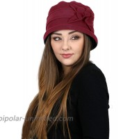 Womens Hat Luxury Fleece Cloche Ladies Cancer Headwear Chemo Winter Head Coverings for Medium to Large Heads Lizzy Burgundy at  Women's Clothing store