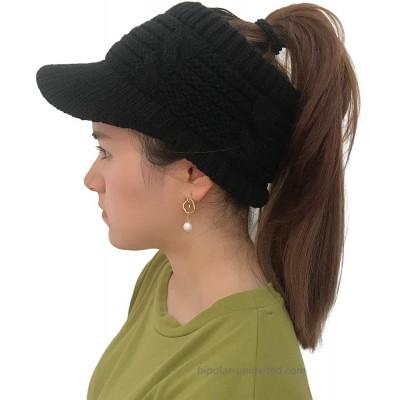 XYIYI Women's Beanie Tail Cable Winter Warm Knit Messy High Bun Ponytail Hat Visor Brim Cap Black at  Women's Clothing store