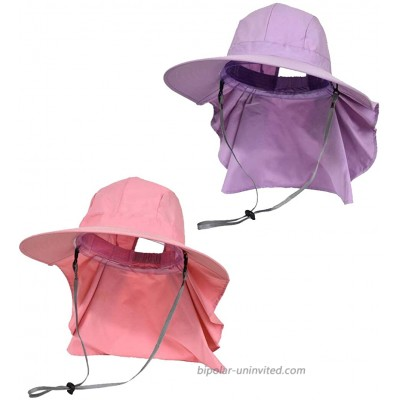 2 Pack Women's Ponytail Sun Hat Wide Brim Fishing Safari Beach UV Protection Hat w Neck Flap Cover Pink & Purple at  Women's Clothing store