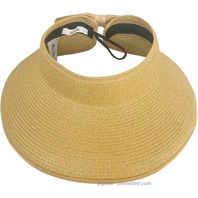 accsa Womens Sun Visor Hats Summer Straw Hat Wide Brim Roll-up Sun Hat with Bowknot UPF 50+ for Beach Travel Brown at  Women's Clothing store