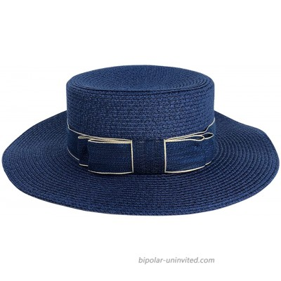 CHIC DIARY Women Bowknot Straw Hat Summer Fedoras Wide Brim Sun Hat Navy at  Women's Clothing store