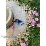 Cuckoo B Amy Straw Frayed Wide Brim Hat with Scarf Trim at Women's Clothing store