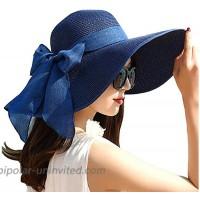 ericotry Womens Big Bowknot Straw Hat Beach Cap Beachwear Wide Floppy Hat Foldable Roll up Big Brim Hats Sun Hat UPF 50+ Party Garden Travel Dark Blue