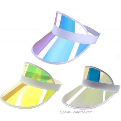 Givocker Women Men Summer Colourful Membrane Sun Visor Caps Transparent Plastic Sun Hat Elastic Headband UV Protection Outdoor Sports Beach Cap White+Pink+Yellow at  Women's Clothing store