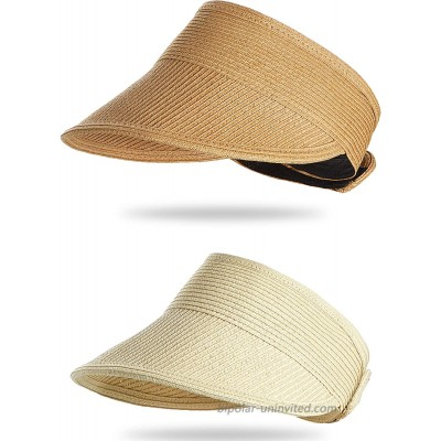Harrhys 2 Pieces Beach Hats for Women Wide Brim Straw Hats Roll-up Foldable Sun Visor Hats UV Protection Hats Beige and Khaki at  Women's Clothing store