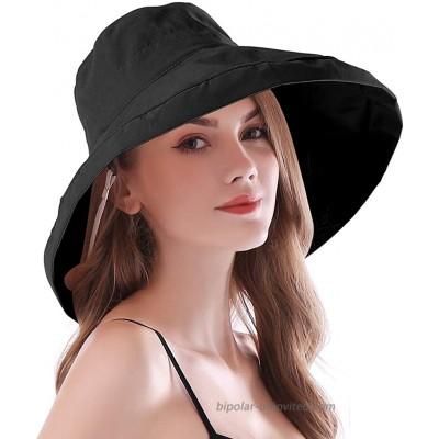 iHomey Women Wide Brim Sun Hats Foldable UPF 50+ Sun Protective Bucket Hat Pure Black at  Women's Clothing store
