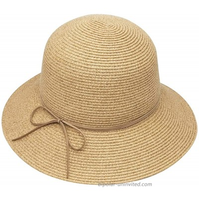 MORSTYLE Women Foldable Straw Bucket Cloche Summer Sun Beach Hat Packable Adjustable UPF50+ Natural-Tan at  Women's Clothing store
