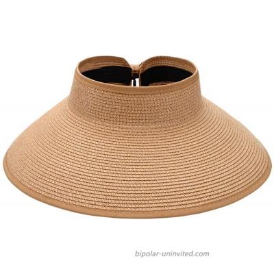 Sun Visor Hats for Women Sun Protection Wide Brim Straw Roll Up Summer Beach Hat UPF 50+ Packable Beach Cap for Sports Fan Visors Khaki at  Women's Clothing store