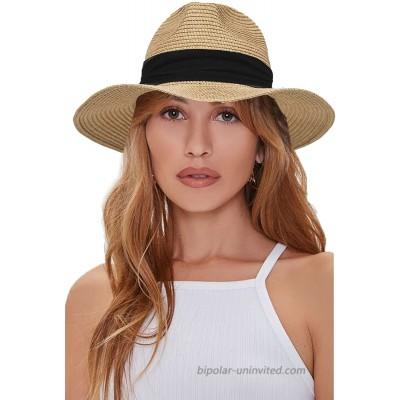 Women Straw-Panama-Hat Summer Beach Hat - Floppy Fedora Cap Khaki Medium