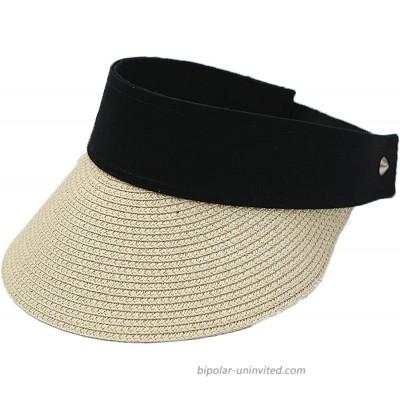 Women Straw Sun Hat - Sun Visor Hats Wide Brim Beach Hat Foldable Fedora Hat Roll up Floppy Summer UV Hat Caps Beige at  Women's Clothing store