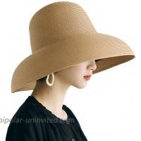 Women Summer UV-Protection Wide Brim Foldable Straw Sun Hat Travel Beach Cap Khaki One Size at  Women's Clothing store