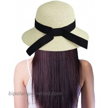 Womens Bowknot Beach-Hat Floppy - Summer Straw-Sun-Hat Foldable Beige at  Women's Clothing store