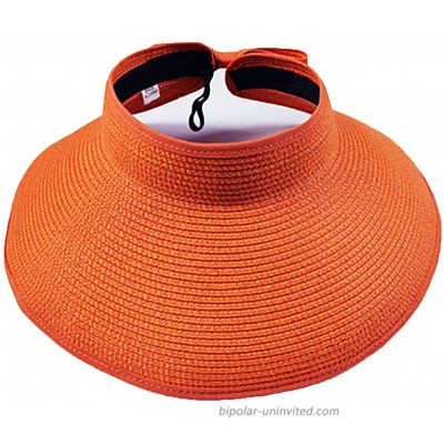 Women?s Summer Foldable Straw Sun Visor w Cute Bowtie UPF 50+ Packable Wide Brim Roll-Up Visor Beach Hat Orange One Size
