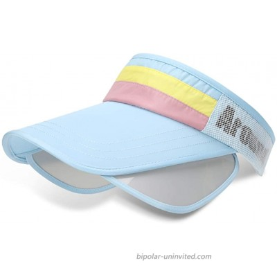 Womens Wide Brim Visor Sun Hat Solar Protection Beach Cap with Retractable Pull Plate Outdoor Light Blue at  Women's Clothing store