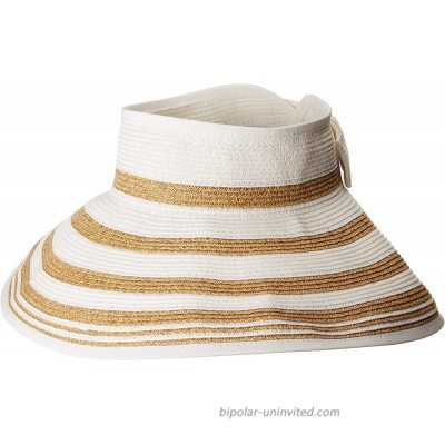 San Diego Hat Company UBV042 Roll Up Visor with Stripe Pattern and Bow Closure White One Size at  Women's Clothing store