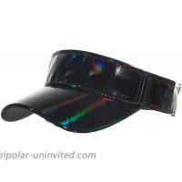 Shiny Holographic Plain Sport Sun Visor Laser Leather Adjustable Summer Cap Black at  Women's Clothing store