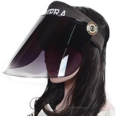 Women UV Solar Protection Hat Headband Sun Visor Summer Anti-UV Cap Black at  Women's Clothing store