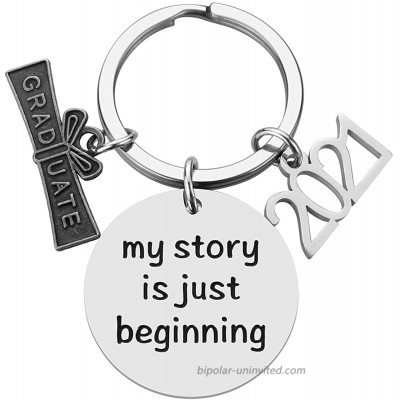 2021 Graduation Gifts for Him Her- My Story Is Just Beginning College High School Graduation Inspirational Keychain Grad Gifts for Women Men Boys Girls Daughter Son Graduates at  Women's Clothing store